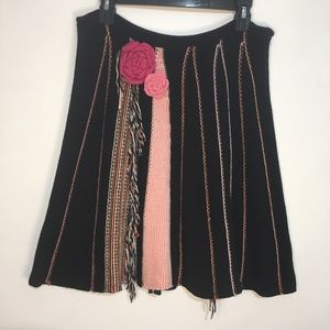 BCBGMaxaZria Black And Pink Knit Skirt One Size